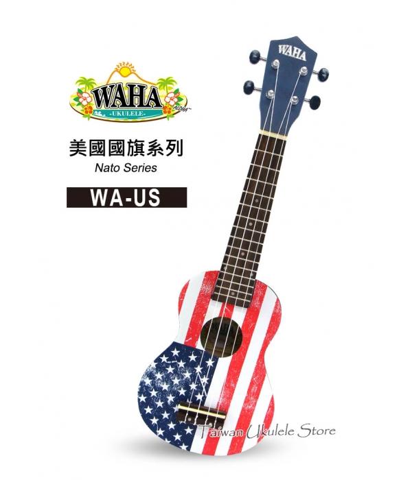 【台灣烏克麗麗 專門店】哇哈 WAHA UKULELE 21吋 美國國旗 WA-US (附琴袋+教學小手冊)